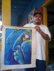 Eddie with his painting in San Ignacio Belize